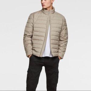 Zara men beige water repellent puffer jacket